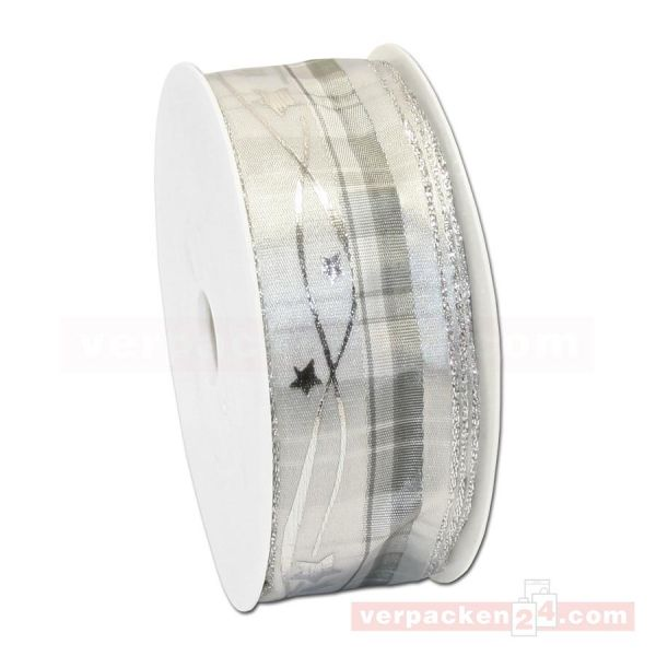 Drahtkantenband - Sterne + Streifen, Rolle 35 mm - weiß/silber