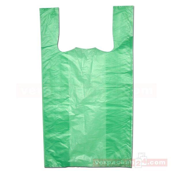 HDPE-Hemdchentaschen, grüne Folie, geblockt - 30+18x55 cm