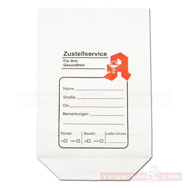 Arznei-Zustellbeutel - Bodenbeutel weiß 19x29cm - Apotheke
