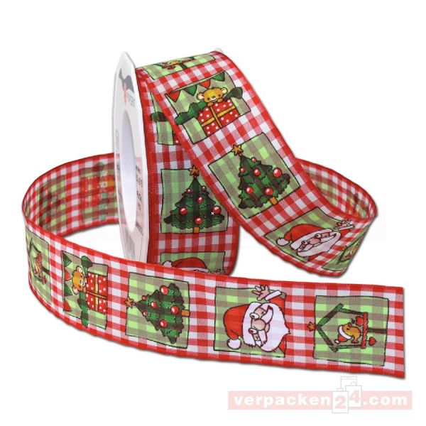 Drahtkantenband - mit Motiv Christmas World, Rolle 40 mm - rot