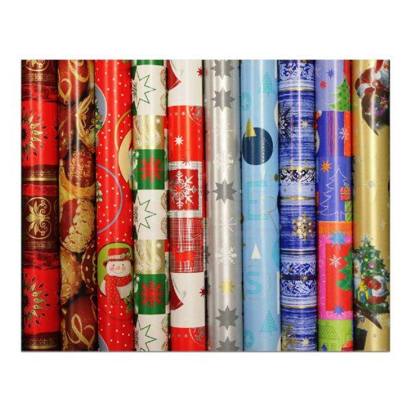 Weihnachts Geschenkpapier Röllchen 70 cm - Christmas - (VE: 50 Rollen)