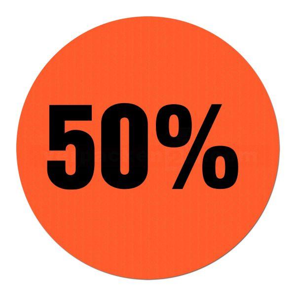 Hinweisetikett selbstklebend - 50 Prozent - rund 30mm (500 Stück)