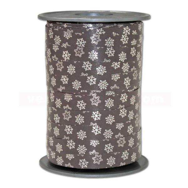 Glanzband Weihnachten - Schneeflocke Rolle, 10 mm - taupe