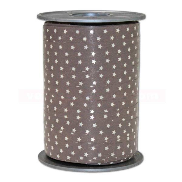 Glanzband Weihnachten - Sterne Rolle, 10 mm - taupe