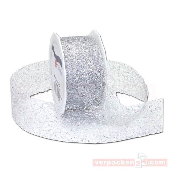 Schleifenband Weihnachten - Lace, Rolle 40 mm - silber metallic