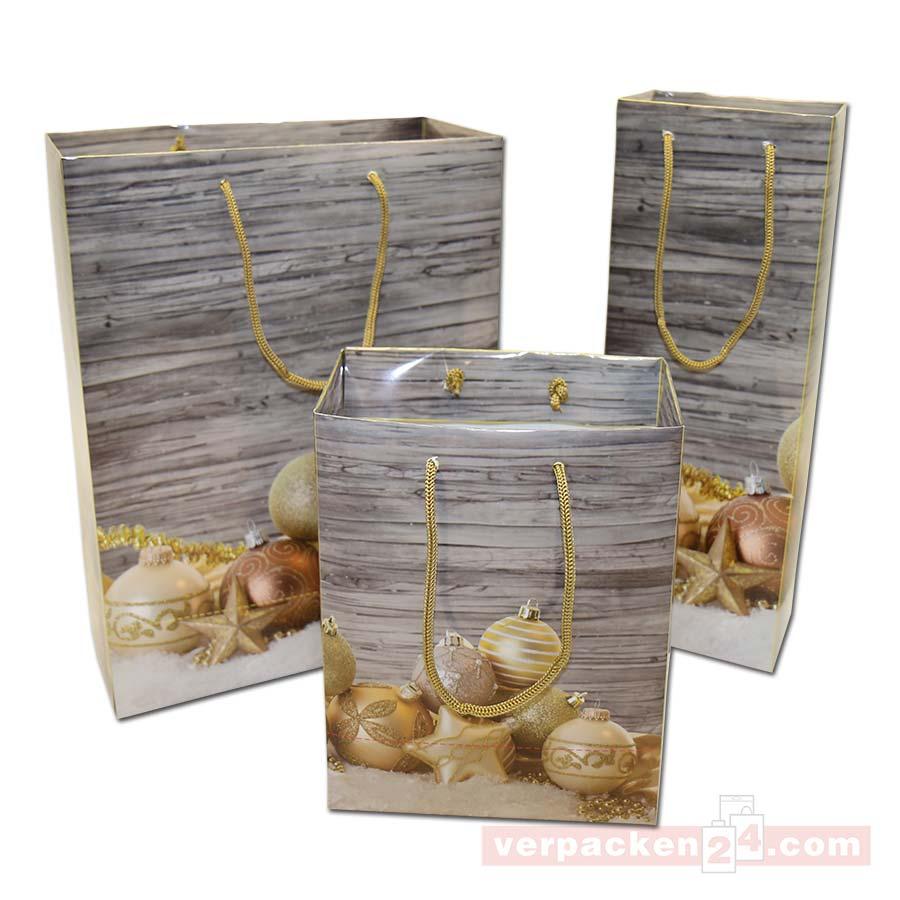 weihnachts papiertasche kugeln gold gl nzend verpacken24. Black Bedroom Furniture Sets. Home Design Ideas