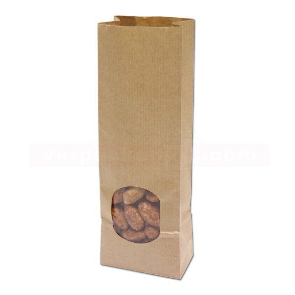 Papier-Blockbodenbeutel braun mit Sichtfenster - innen foliert