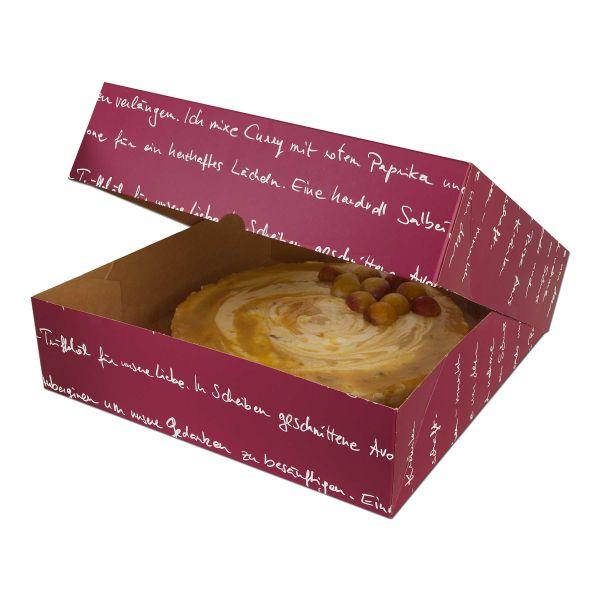 Tortenkarton, mit Deckel - mmmhh - 330x330x115mm - bordeaux
