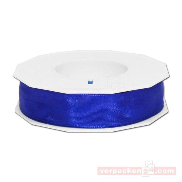 Seidenband - Lyon - mit Drahtkante, Rolle 25 m, 25 mm - blau