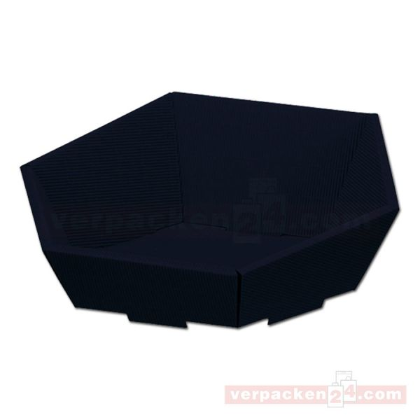 Präsentkorb Modern - 6-eckig, offene Welle - schwarz
