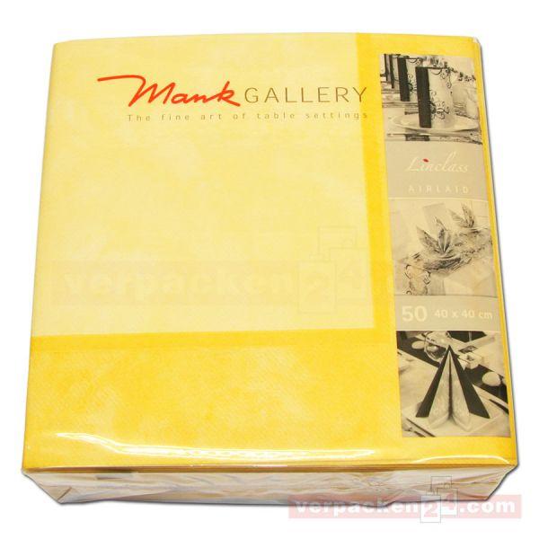 Servietten Airlaid farbig, 40x40 cm - 1/4 Falz, Marmor gelb