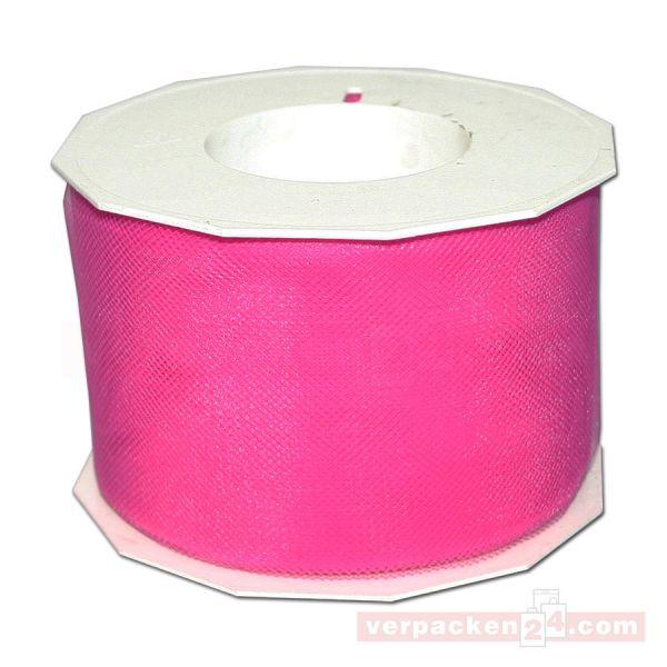 Tüllband - Verona - Rolle 50 m, 72 mm - pink