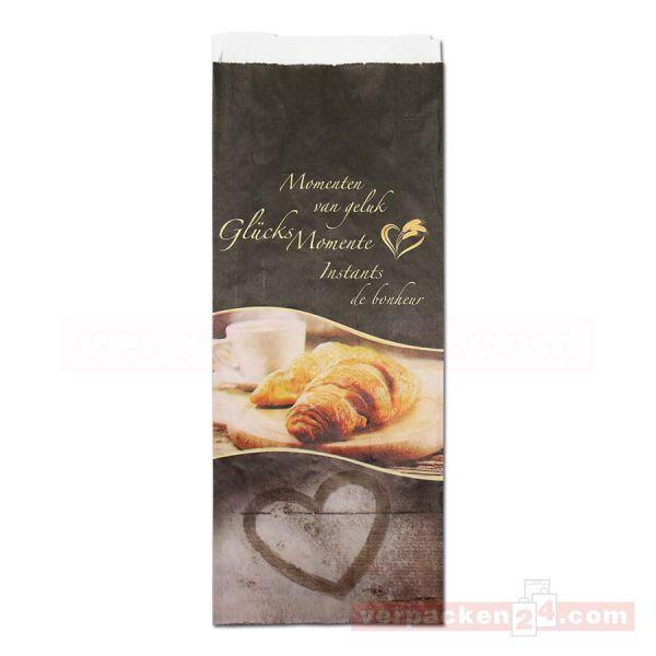 Bäckerfaltenbeutel weiß - GlücksMomente - 14+ 6,0x33cm - Nr. 423
