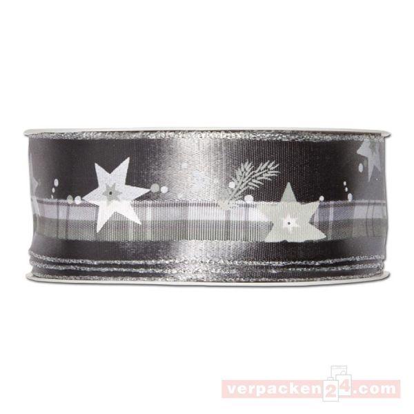 Drahtkantenband - Sterne + Zweige, Rolle 35 mm - grau/silber