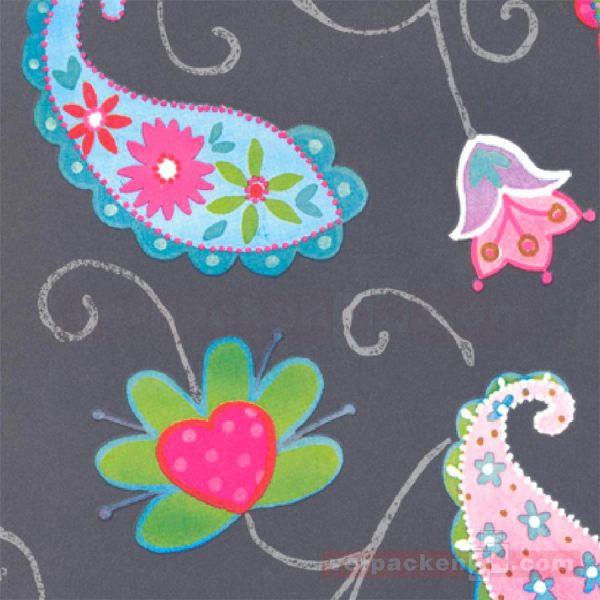 Geschenkpapier, neutral W 40412, Rolle 50 cm - Blumen bunt