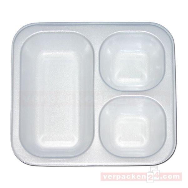 Thermo-Siegelschalen, Polystyrol, weiß - 3-geteilt - 900 ml