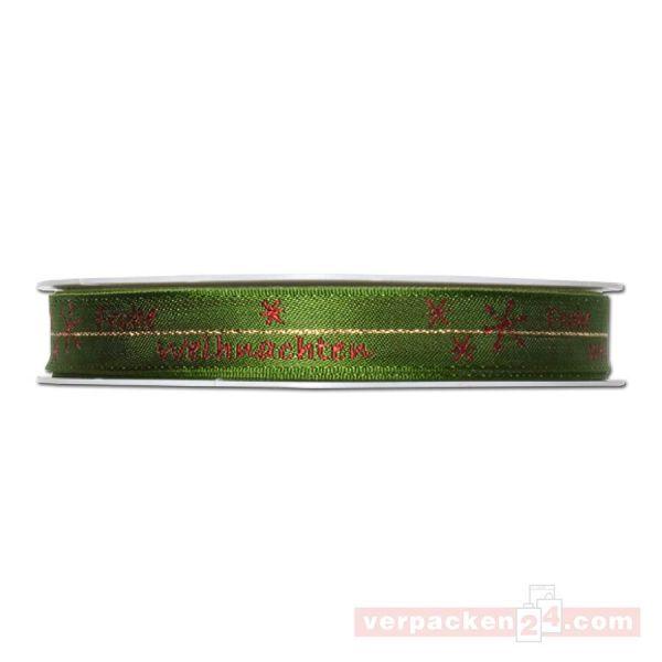 Drahtkantenband - Frohe Weihnachten, Rolle 15 mm - grün/rot