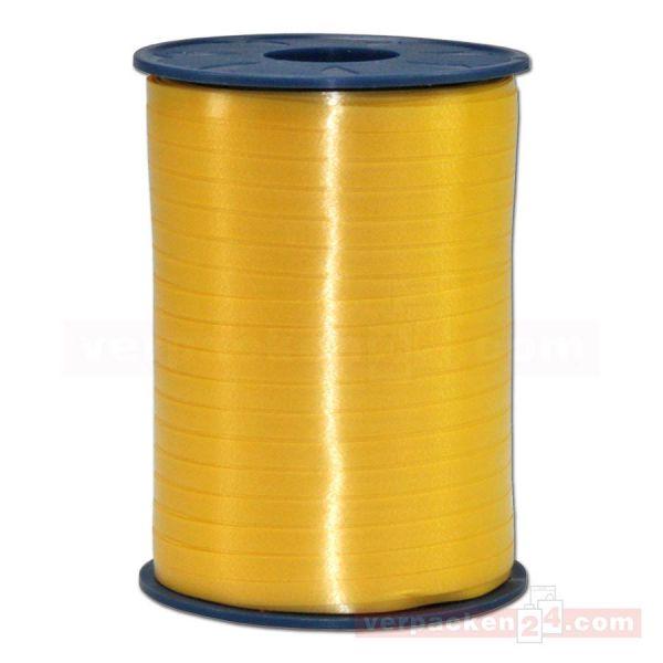 Glanzband auf Rolle 500 mtr., 5 mm - goldgelb (605)