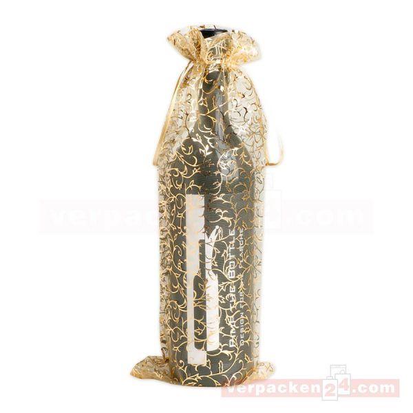 Organzabeutel Flaschen - Creme/Gold - 140x350mm - 1 Flasche