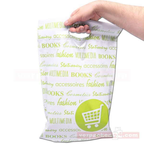 Versandtaschen Plastik - WebShopCarrier - 350x400+50+40mm - grün