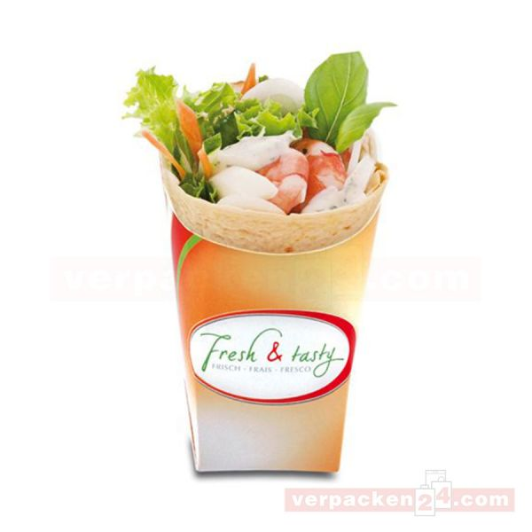 Wrap-Cup weiß - Fresh & Tasty - aus Pappe - 100x46x105mm