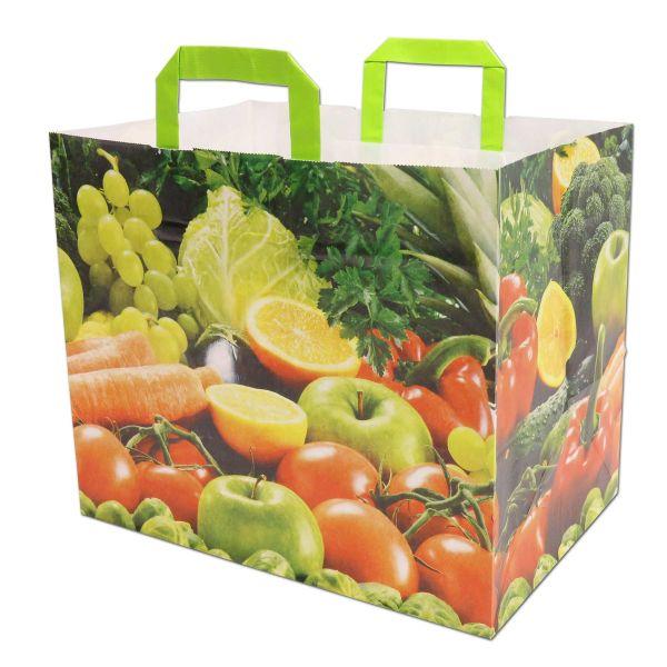 Papiertragetasche, Food weiß, Obst & Gemüse - 32+22x27cm