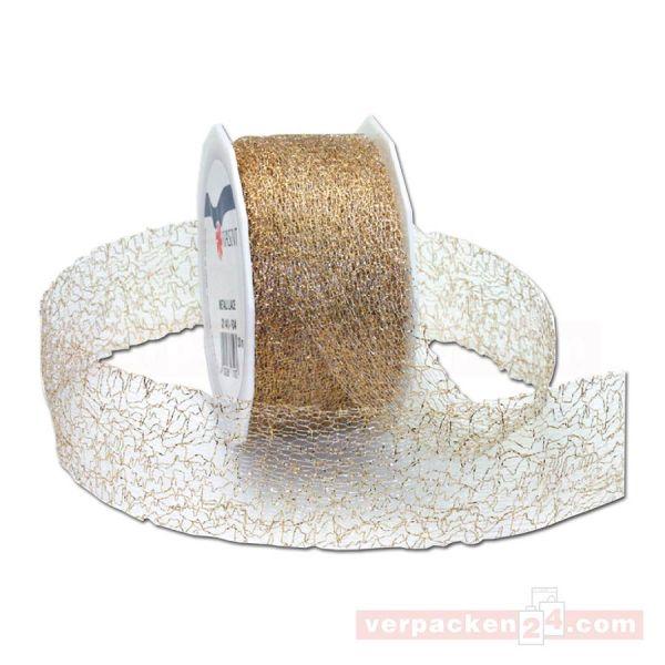 Schleifenband Weihnachten - Lace, Rolle 40 mm - gold metallic