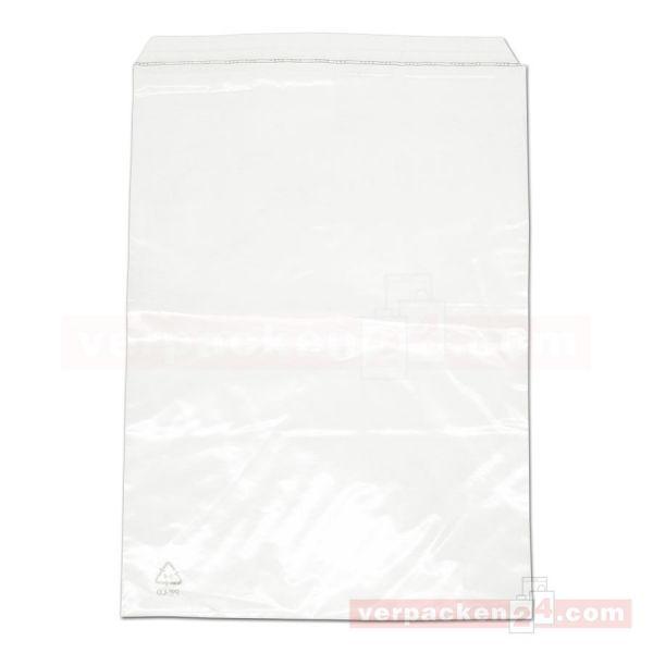 Versandtaschen, Euromail, transp., Klappe - 225x310+50 mm