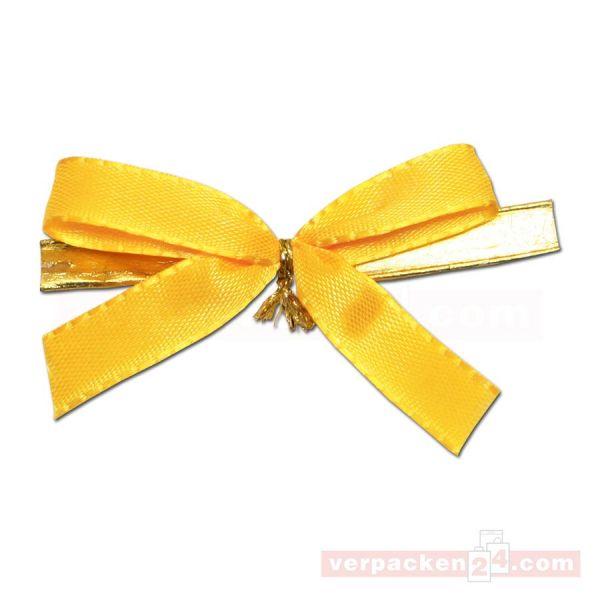 Fertigschleifen mit Clip - 2-Flügelschleifen - 60mm - gelb (VE: 100 Schleifen)