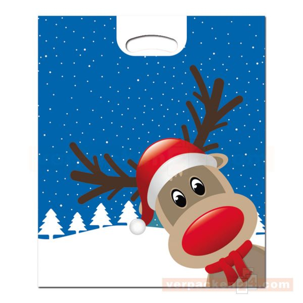 Weihnachts-Polytragetaschen - Christmas Friends - mit Griffloch