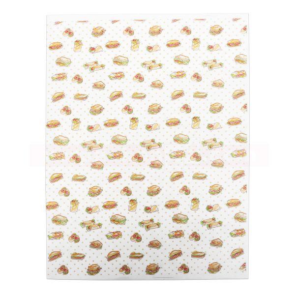 Hamburgerpapier - Snackpapier Wrap - Snackmotiv - 31x40 cm Bogen