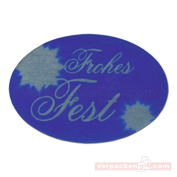 SKL-Etiketten, neutral - Frohes Fest - blau - oval