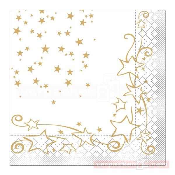 Servietten Tissue Xmas, 40x40 cm - 1/4 Falz, Glitter - gold
