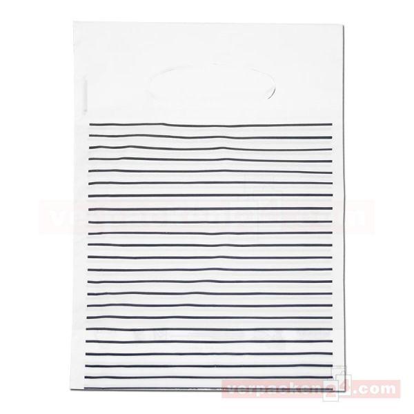 LDPE-Polytragetasche weiß - Streifen schwarz