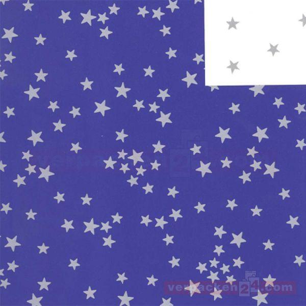 Weihnachts Geschenkpapier St 19878, Rolle 50 cm - Sterne blau