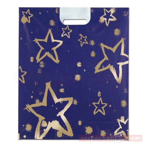 Weihnachts-Polytragetaschen - goldene Sterne - 37x45 cm - blau