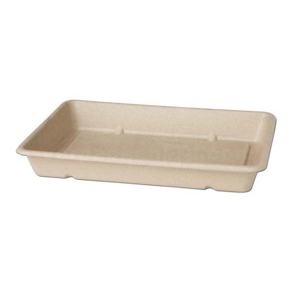 Bagasse Boxen eckig - SCHALE - braun, kompostierbar