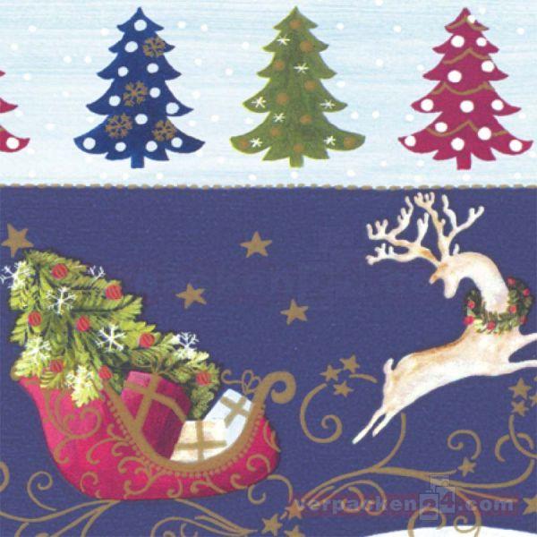 Weihnachts Geschenkpapier W 49630, Rolle 50cm Schlitten blau