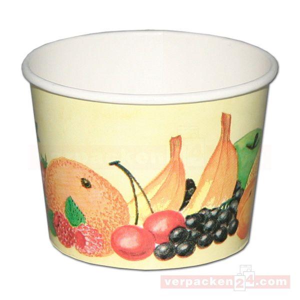 Eisbecher aus Hartpapier, Neutraldruck Früchtemotiv, rund