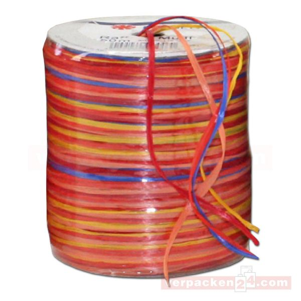 Bastband auf Spule - Raffia Multicolour 50 m - orange rot (609)