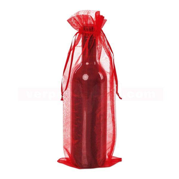 Organzabeutel Flaschen - rot - 140x350mm - 1 Flasche