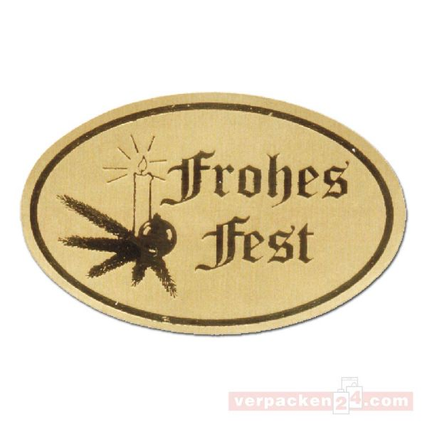 SKL-Etiketten, neutral - Frohes Fest - gold - oval