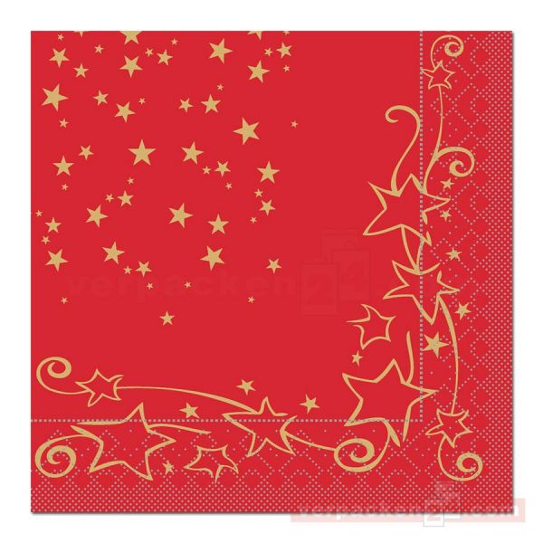 Servietten Tissue Xmas, 40x40 cm - 1/4 Falz, Glitter - rot