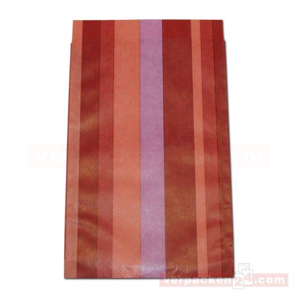 Geschenkflachbeutel, neutral Streifen rot 0912 - 120x190+20 mm