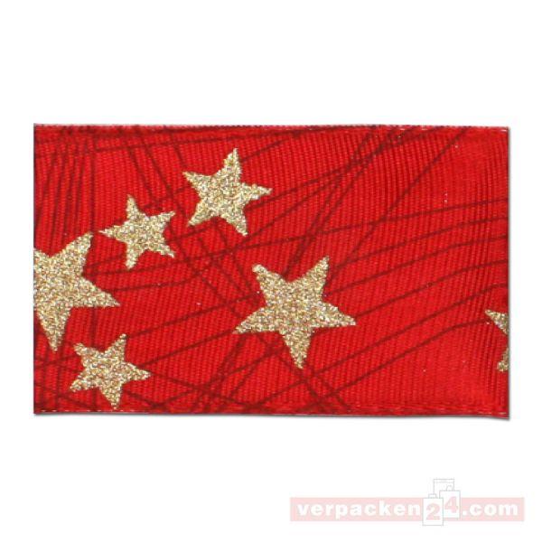 Seidenband mit Drahtkante - Stars - Rolle 40 mm - rot/gold
