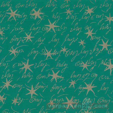Weihnachts Geschenkpapier St 989806, Rolle 70 cm - Sterne grün