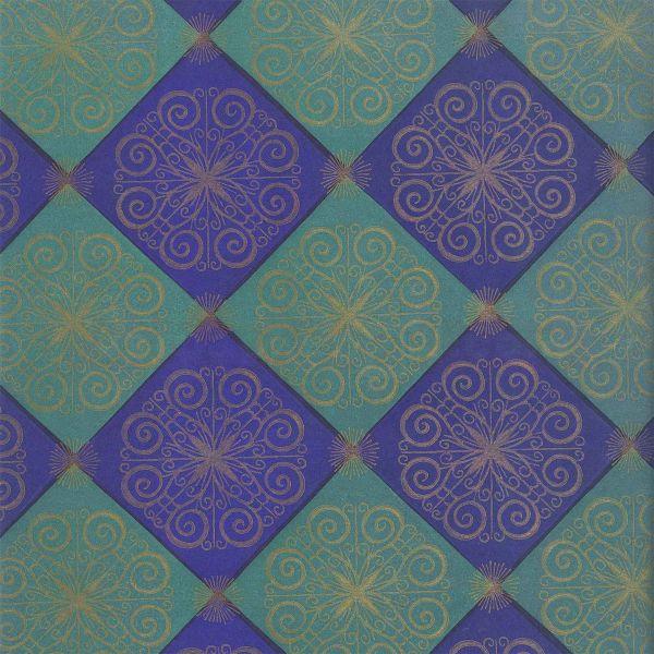 Weihnachts Geschenkpapier C024, Rolle 30cm, Ornamente blau
