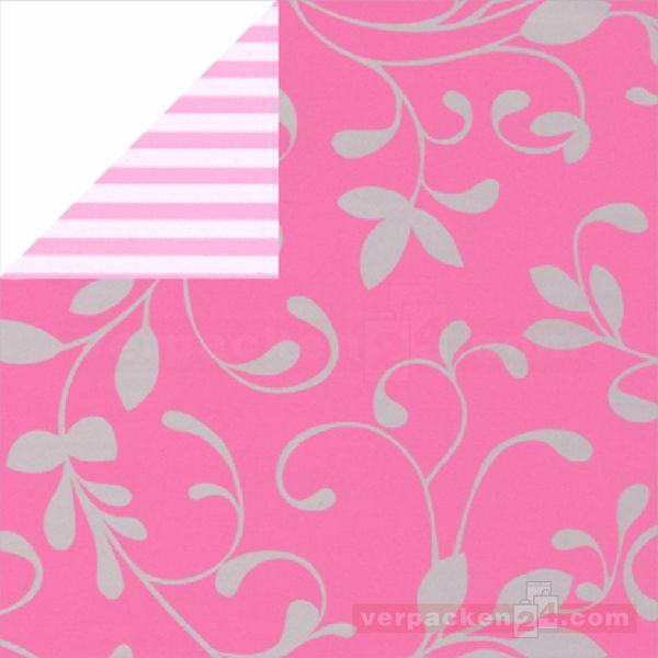 Geschenkpapier, neutral St 973407, Rolle 50 cm - Ranke rosa