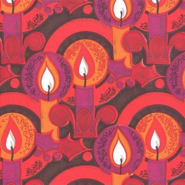 Weihnachts Geschenkpapier C021, Rolle 30cm, Kerzen lila