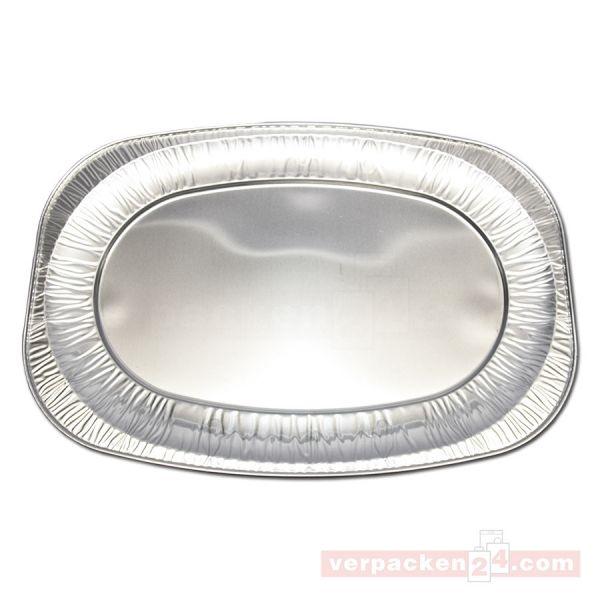 Alu-Servierplatten silber, oval - 545x360x30 mm